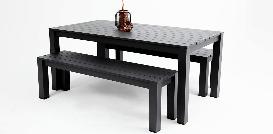 Dallas 220cm 3 piece aluminium dining setting black