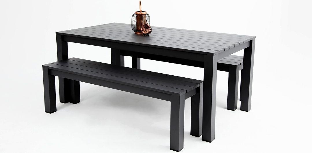 Dallas 180cm 3 piece aluminium dining setting black