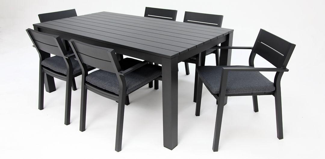 Dallas 7 piece aluminium dining setting black
