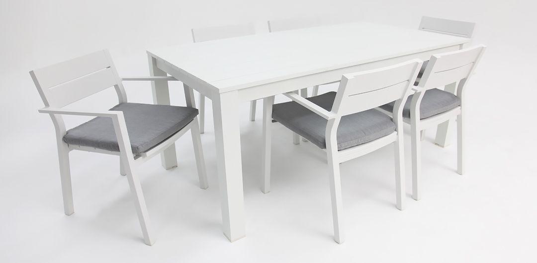 Dallas 7 piece aluminium dining setting white