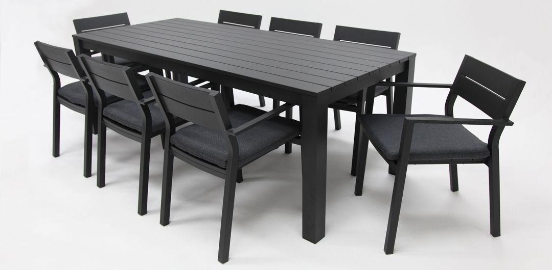 Dallas 9 piece aluminium dining setting black