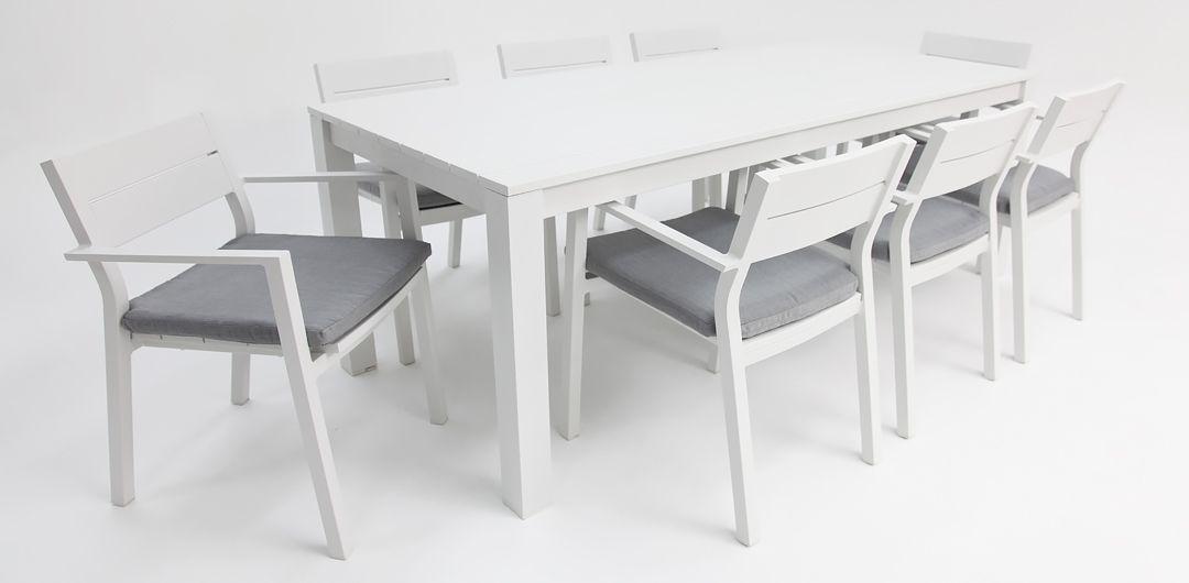 Dallas 9 piece aluminium dining setting white