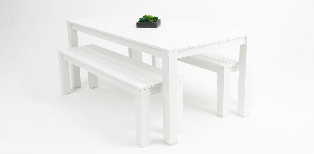 Dallas 180cm 3 piece aluminium dining setting white