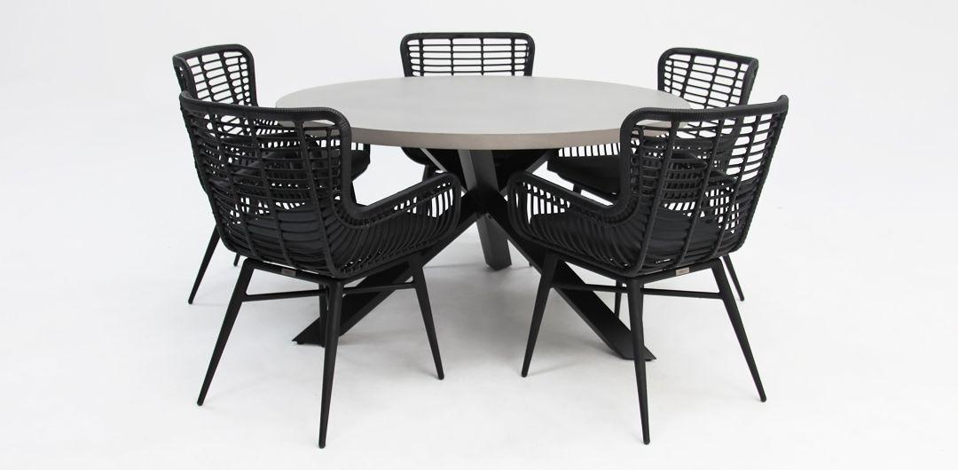 Milano-Astrid 135cm 6 piece concrete dining setting black