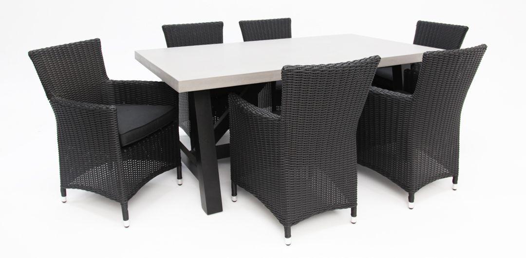 Milano-Amani 180cm 7 piece concrete dining setting black half round