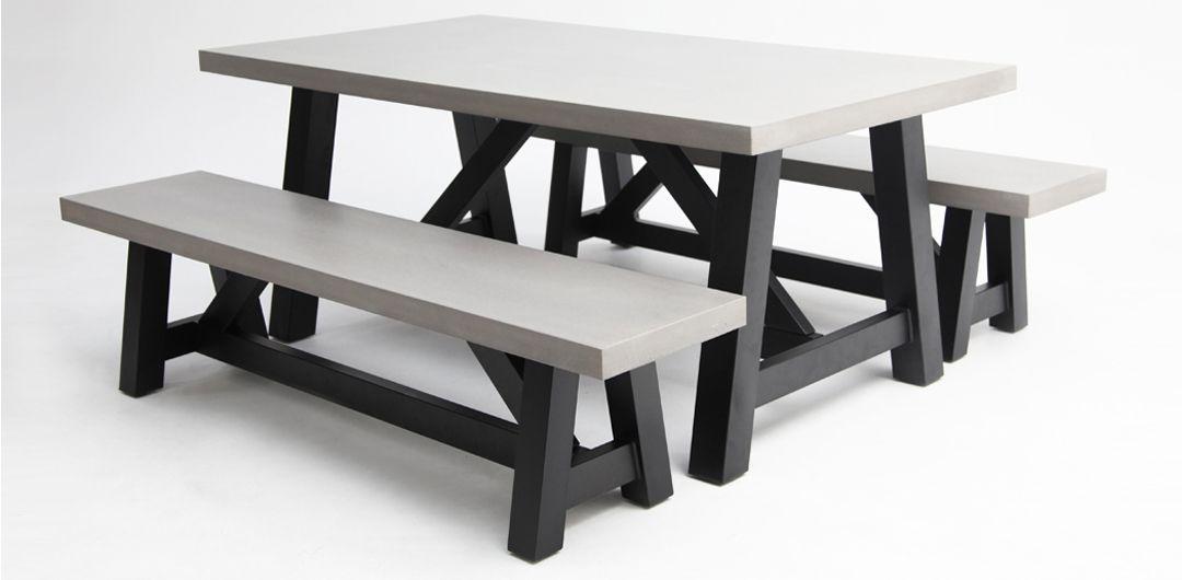 Milano 180cm 3 piece concrete dining setting