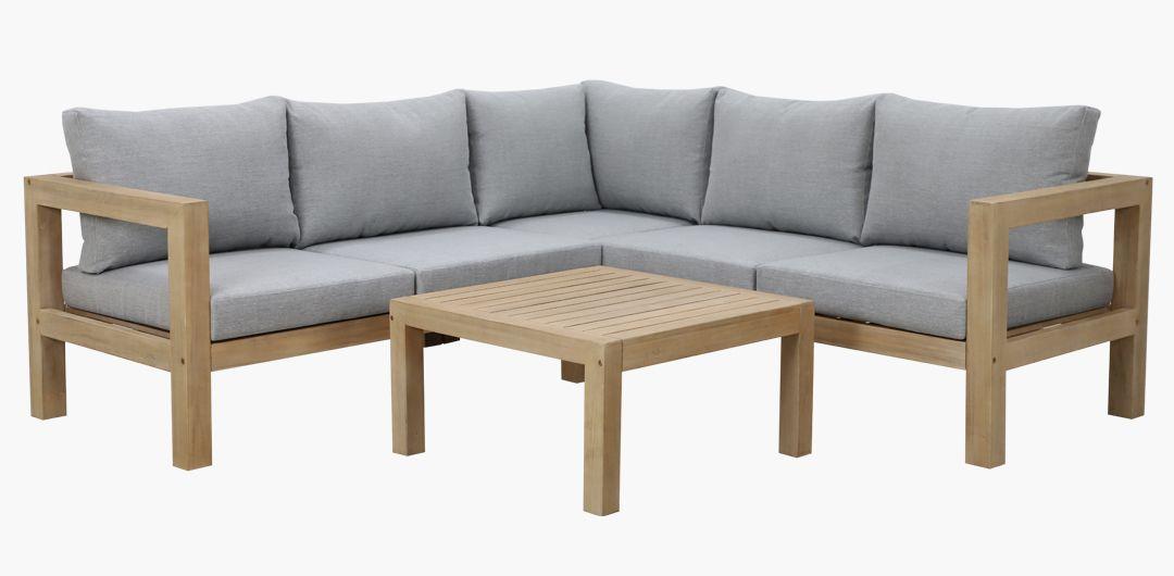 Olita corner timber lounge setting