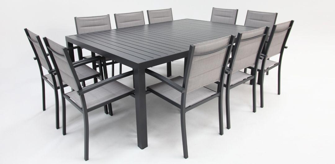Queensville 11 piece aluminium dining setting gunmetal