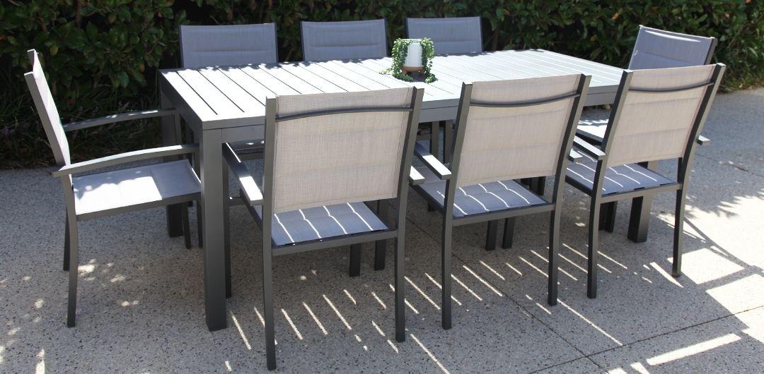 Queensville 9 piece aluminium dining setting gunmetal