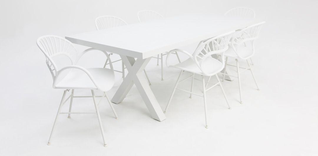 Ravenne-Fantail 7 piece aluminium dining setting white