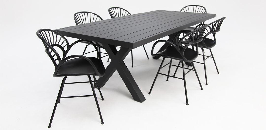 Ravenne-Fantail 7 piece aluminium dining setting black