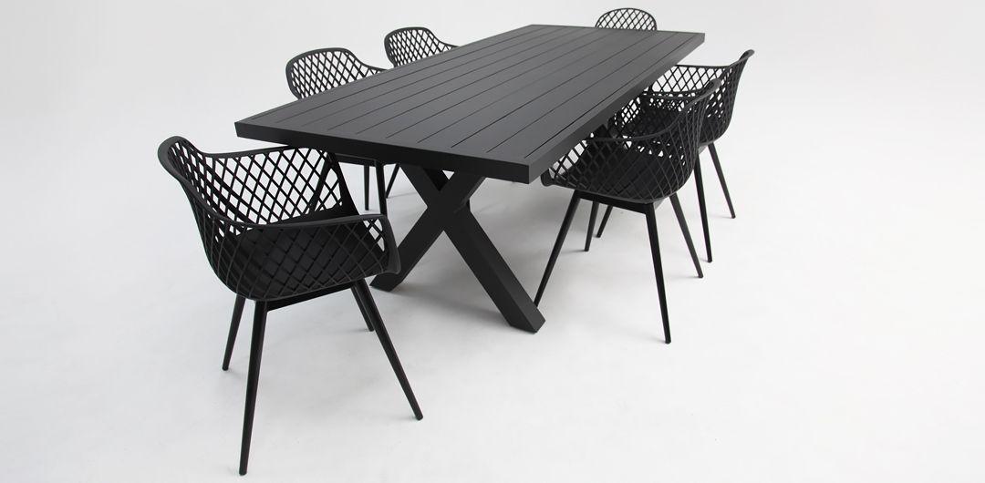 Ravenne-Java 7 piece aluminium dining setting black