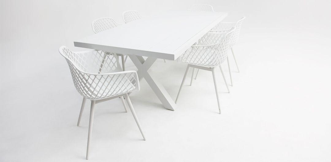 Ravenne-Java 7 piece aluminium dining setting white