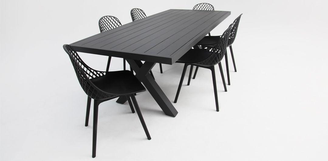 Ravenne-Persia 7 piece aluminium dining setting black