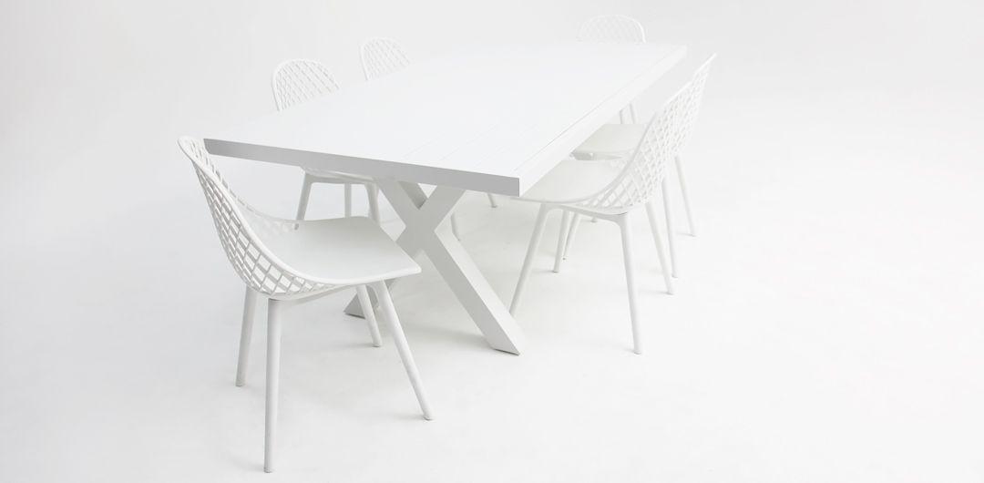 Ravenne-Persia 7 piece aluminium dining setting white