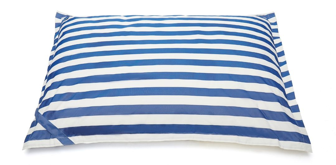 Lazy Days floating outdoor beanbag navy and white stripe