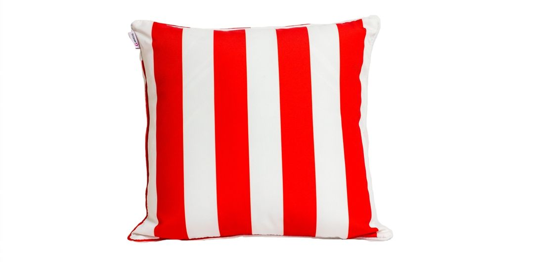 Indo Soul red and white striped 45x45cm outdoor scatter cushion