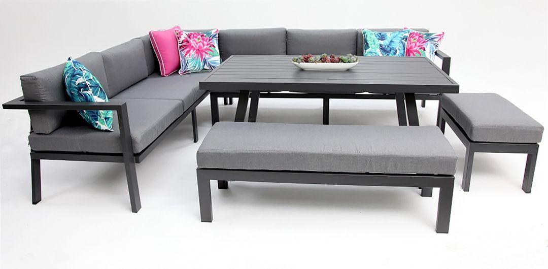 San Antonio 5 piece aluminium lounge set gunmetal