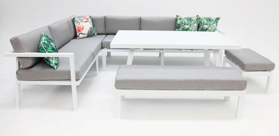 San Antonio 5 piece aluminium lounge set white