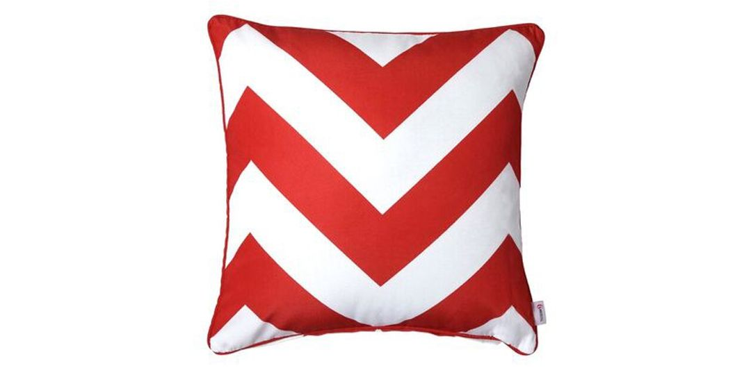 Indo Soul blood red and white large aztec 45x45cm outdoor scatter cushion