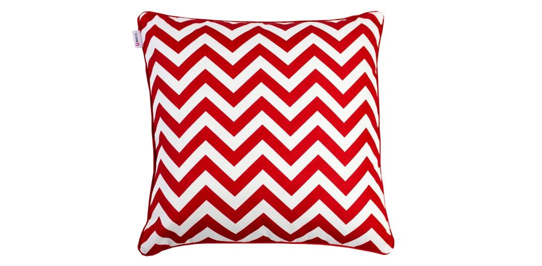 Indo Soul blood red and white narrow aztec 45x45cm outdoor scatter cushion