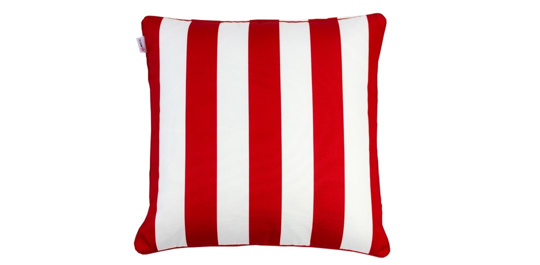 Indo Soul blood red and white striped 45x45cm outdoor scatter cushion