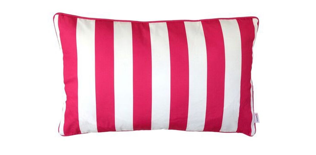 Indo Soul pink and white striped rectangular 62x37cm outdoor scatter cushion