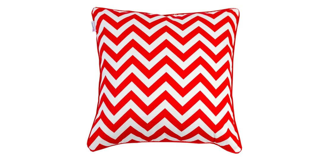 Indo Soul red and white narrow aztec 45x45cm outdoor scatter cushion