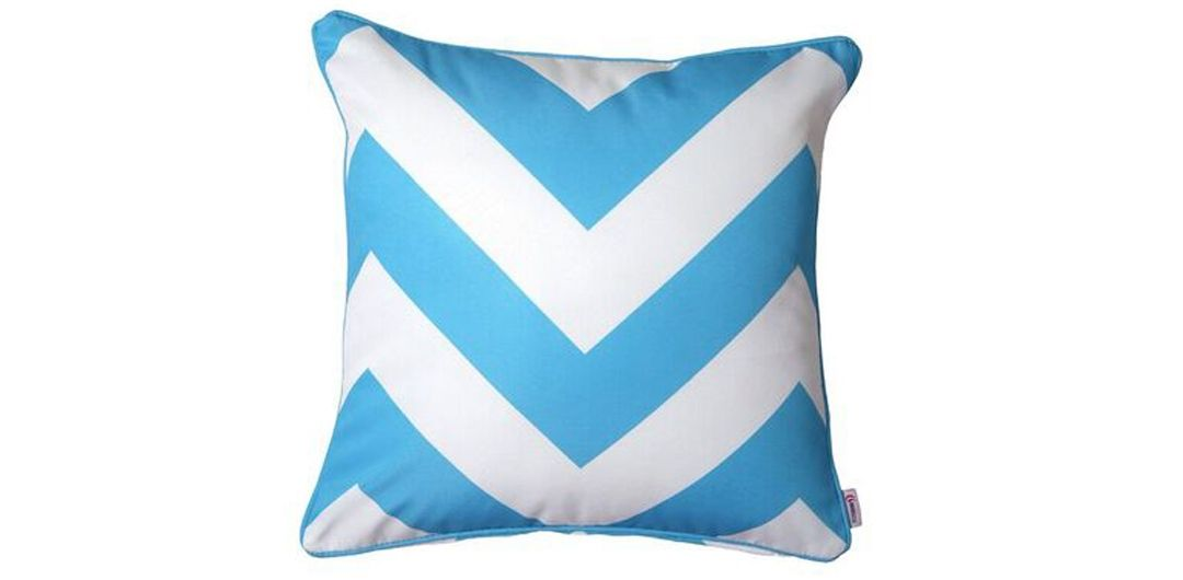 Indo Soul turquoise and white large aztec 45x45cm outdoor scatter cushion