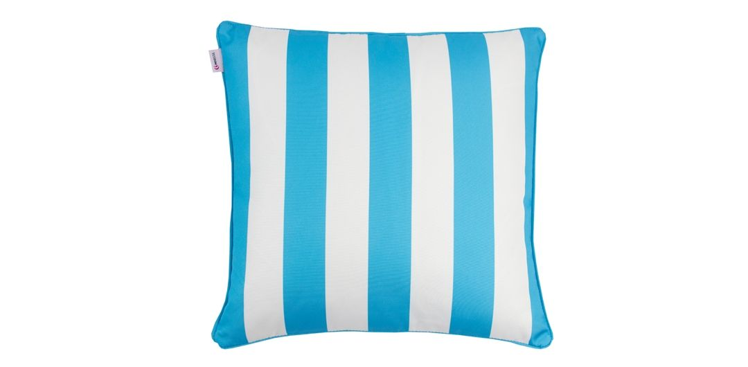Indo Soul turquoise and white striped 45x45cm outdoor scatter cushion