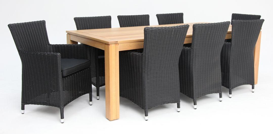 Selina-Amani 220cm 9 piece dining set black half round