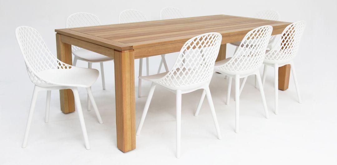 Selina-Persia 220cm 9 piece dining set white