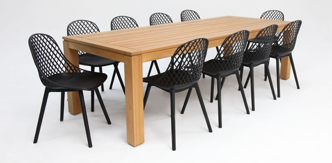 Selina-Persia 260cm 11 piece dining set black