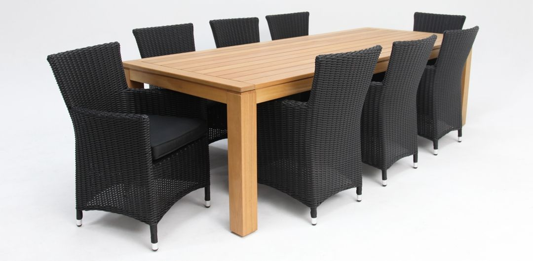 Selina-Amani 260cm 9 piece dining set black half round