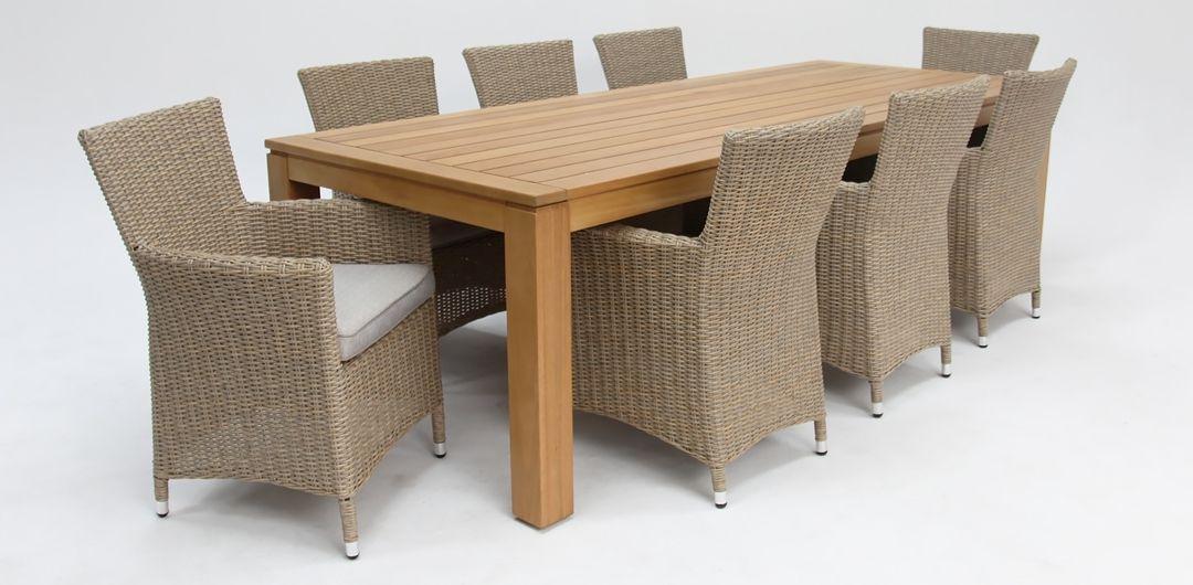 Selina-Amani 260cm 9 piece dining set driftwood