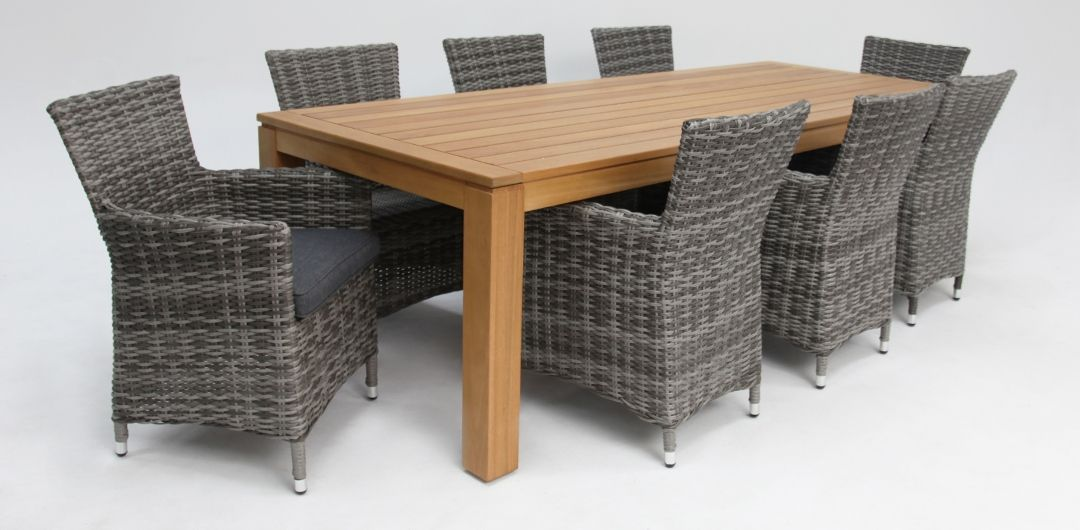 Selina-Amani 260cm 9 piece dining set grey