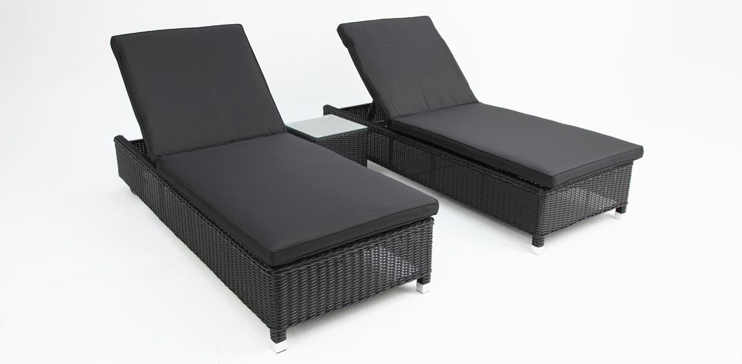 Amani 3 piece bundle - x2 sunlounge with wheels and side table black half round/charcoal
