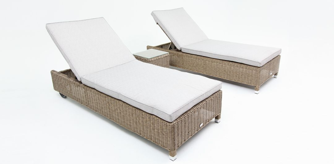 Amani 3 piece bundle - x2 sunlounge with wheels and side table driftwood/stone