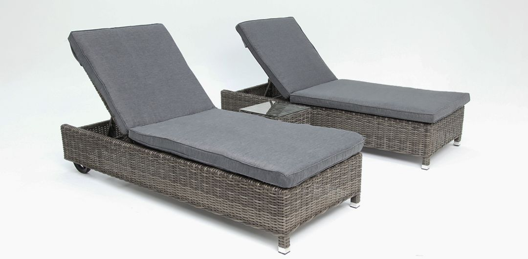 Amani 3 piece bundle - x2 sunlounge with wheels and side table grey/storm