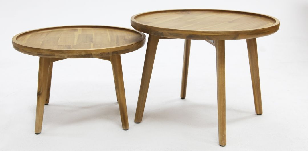 Melfort set of 2 timber nested tables