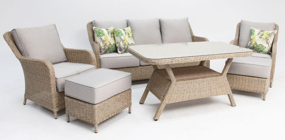 Tortuga Grande 6 piece lounge setting driftwood/stone